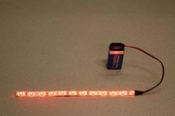 Flexibele LEDSTRIP op batterij - Rood 100 cm. met 9 Volt aansluiting - LEDSTRIP op batterijvoeding - LEDSTR100RD