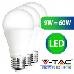 Set van 3 LED Lampen 9W = 60W WarmWit 2700K - vt-1900